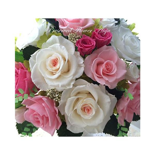 プリザーブドフラワー ギフト 永遠の薔薇をあなたへ ミルフィーユ ピンクローズ 心躍る新しいスタートに|anju87|04