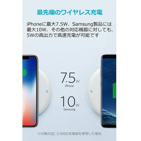 Anker PowerWave 7.5 Pad ワイヤレス充電器 7.5W Quick Charge 3.0対応急速充電器付属 iPhone X 8 8 Plus Galaxy各種対応 ankerdirect 02