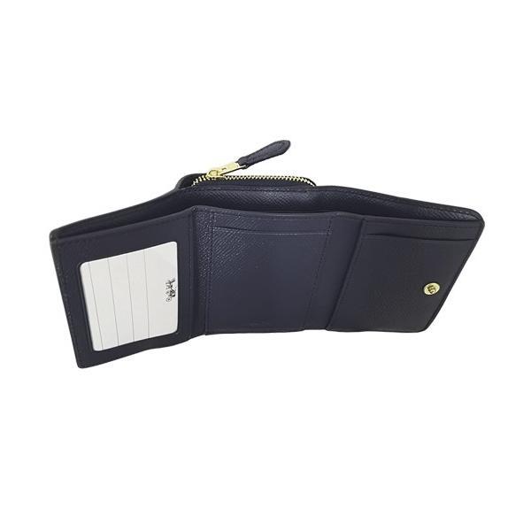 COACH(コーチ)クロスグレインレザー スモール スリーフォールド ウォレット三つ折り財布 F37968 IMMID(ミッドナイト)