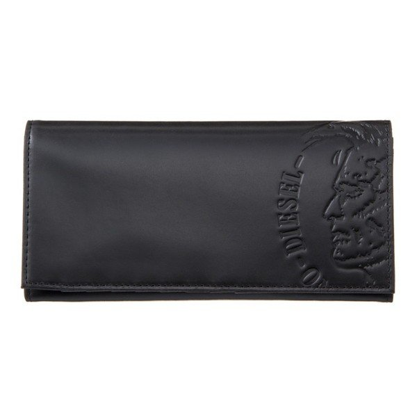 DIESEL (ディーゼル)  メンズ 長財布 ブランド 黒 ブラック ブランド 本革 モヒカンスタンプ レザー X04765 PR160 T8013