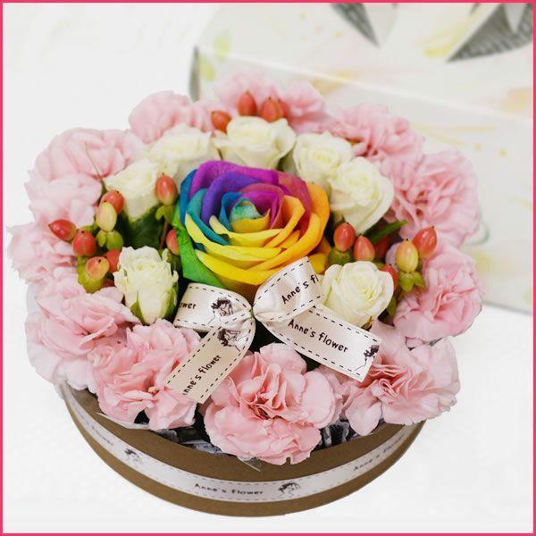 花 レインボー バラ  フラワーケーキ クリスマス フラワーアレンジメント 誕生日 お歳暮 ケーキ キャンドルセット 翌日配達 ギフト プレゼント 贈り物|anne