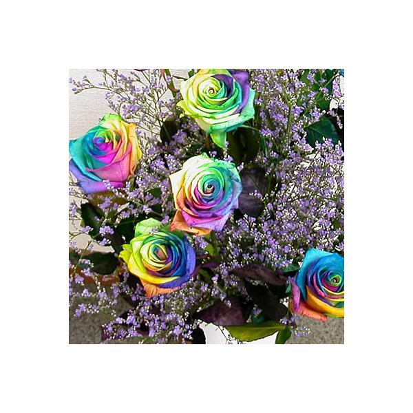 花束 バラ ギフト レインボーローズ 誕生日の花 薔薇 ギフト プレゼント 歓送迎 送別 退職 贈り物 卒業