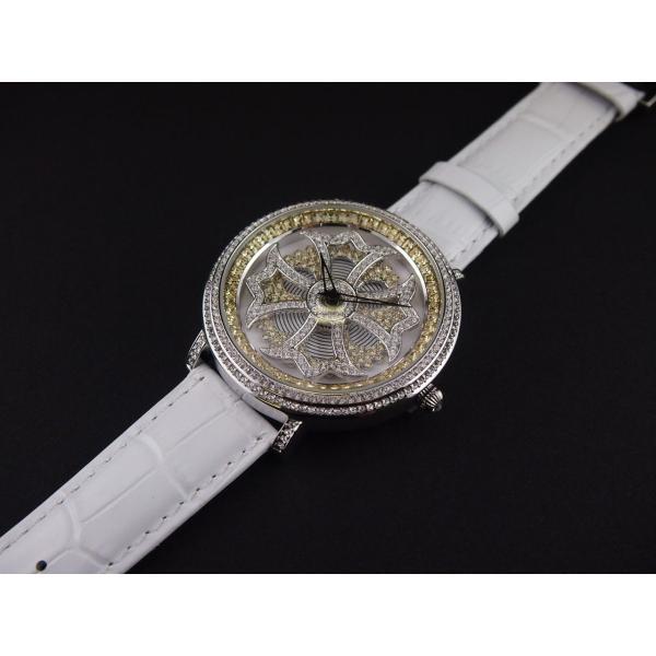 8c82f4fb5c アンコキーヌ/ぐるぐる時計/バイカラー クロスシルバーベゼル クリア×イエロー (本体イエロー×シロ ベルト:シロ) 1110-0601