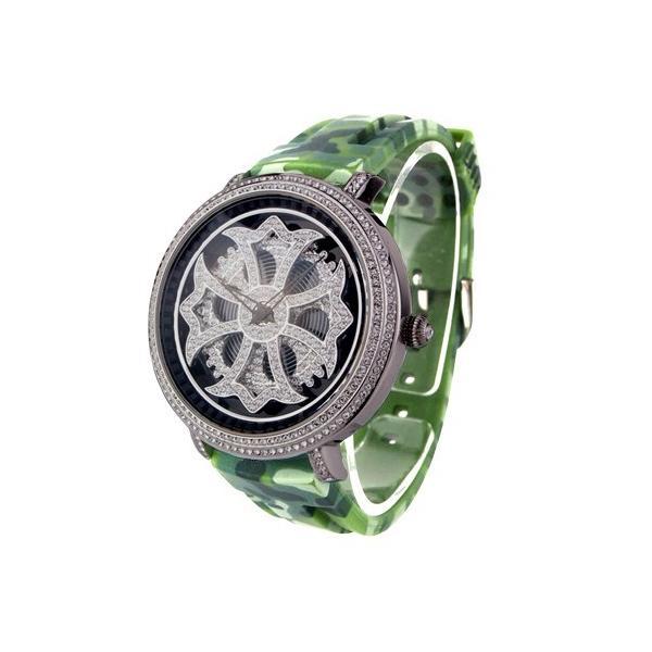 bf55149e70 アンコキーヌ Anne Coquine 腕時計 時計 クロス シルバー ラバー迷彩ベルト ブラック ベルト 迷彩グリーン 1115-