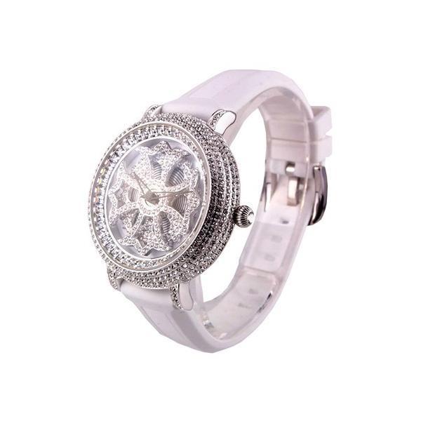 198c3250b4 アンコキーヌ Anne Coquine 腕時計 時計 ミニクロス シルバー ラバーベルト ホワイト ベルト ホワイト 1117-0101