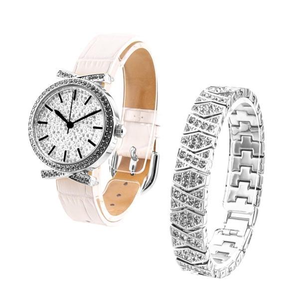 f82dea25ca アンコキーヌ Anne Coquine 腕時計 時計 パヴェストーン シルバーベゼル(白ベルト) スワロシルバーベルト