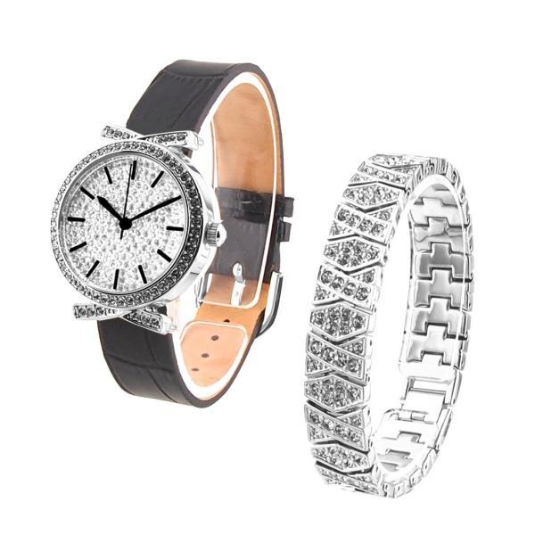 73a0cced6d アンコキーヌ Anne Coquine 腕時計 時計 パヴェストーン シルバーベゼル(黒ベルト) スワロシルバーベルト