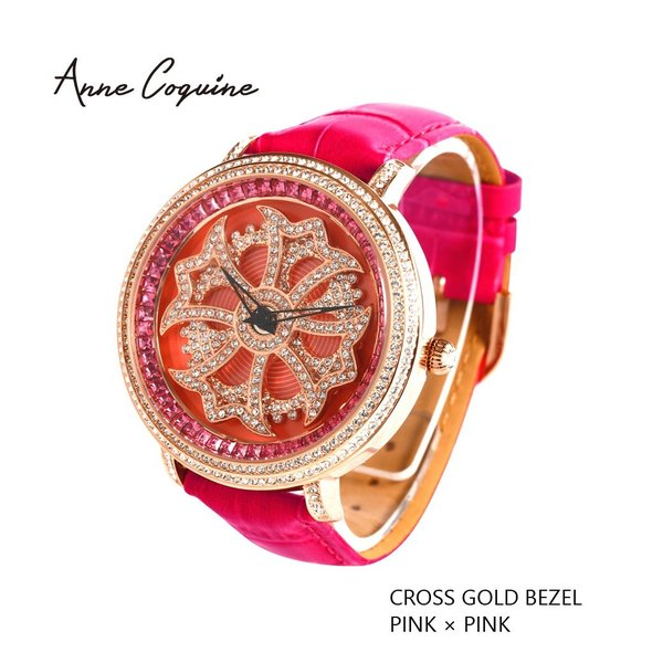 1e4d74ef62 アンコキーヌ Anne Coquine 腕時計 時計 クロスゴールドベゼル ピンク 1201-0505 レディース メンズ 革 ベルト ブランド 高級  スワロフスキー ぐるぐる 回る