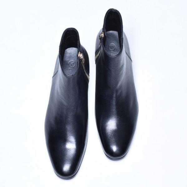 ショートブーツ メンズ サイドジップ ワークブーツ ヒールブーツ 本革 革靴 シューズ anothernumber 04