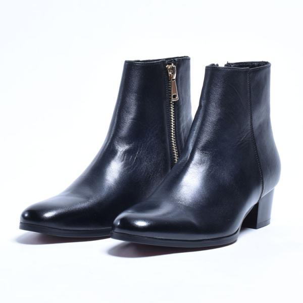 ショートブーツ メンズ サイドジップ ワークブーツ ヒールブーツ 本革 革靴 シューズ anothernumber 05