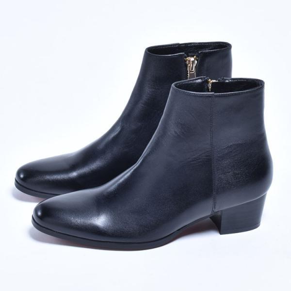ショートブーツ メンズ サイドジップ ワークブーツ ヒールブーツ 本革 革靴 シューズ anothernumber 06