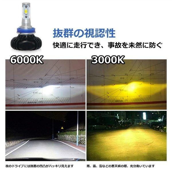 OPPLIGHT H16 LED 2色切替タイプ 光軸調整可能 3000K 6000K 6000LM 30W 高輝度 ソールCSPチップ  取付簡単 長寿命 一年半保証  2本セット OPP-N2-H11 anshinsokubai 03