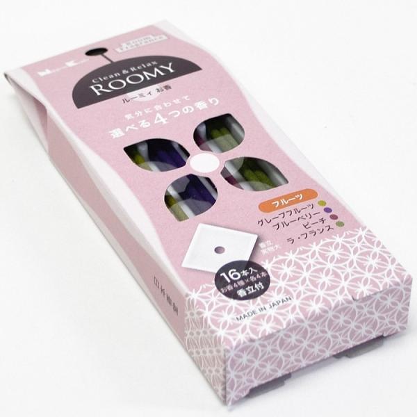 日本香堂 ROOMY Clean&Relax フルーツ 4種16本入 香立付 ルーミィ インセンス 室内香 お香 スティック ルームインセンス アソート おしゃれ