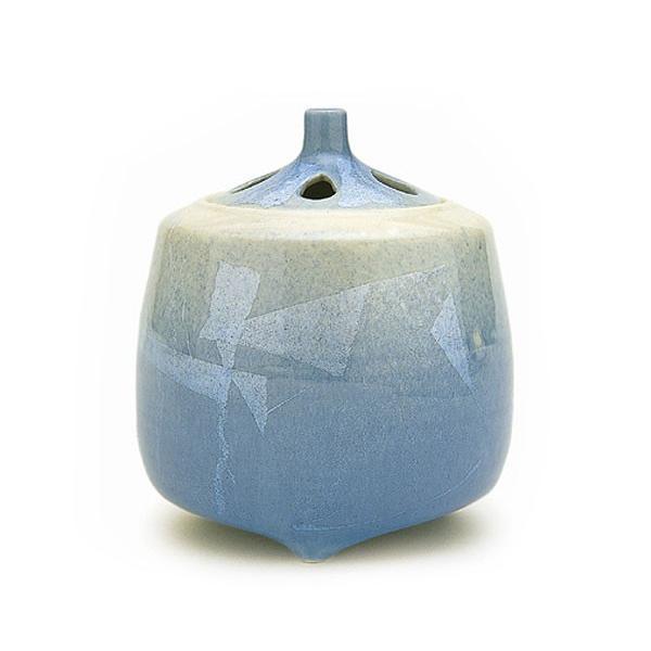 日本香堂 銀彩ブルー 大 九谷焼 ギンサイブルー 陶器製 陶器 九谷焼 仏具 仏具単品 香炉 送料無料