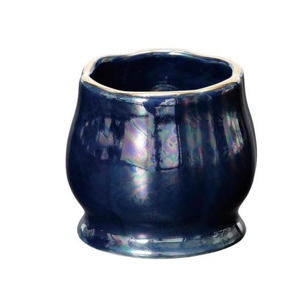 美濃焼 茶湯器 花輪 かりん「ディープブルー」美濃焼 日本製 仏具 茶湯器 茶器 ミニ仏壇 仏具セット 小さめ 合わせやすい