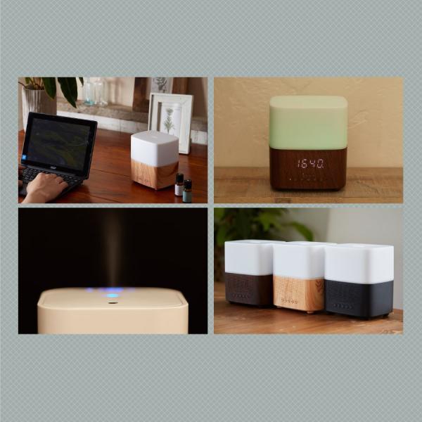 アロマディフューザースピーカー LED Bluetoothスピーカー アラーム付き時計 卓上 小型 加湿器 Uruon(ウルオン) 超音波加湿器 オーガニックアロマオイル対応