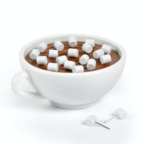 フレッド FRED マシュメモ マシュマロ型画鋲&コーヒーカップホルダー  MARSH MEMOS 20個セット ココア マシュマロ 押しピン 文具
