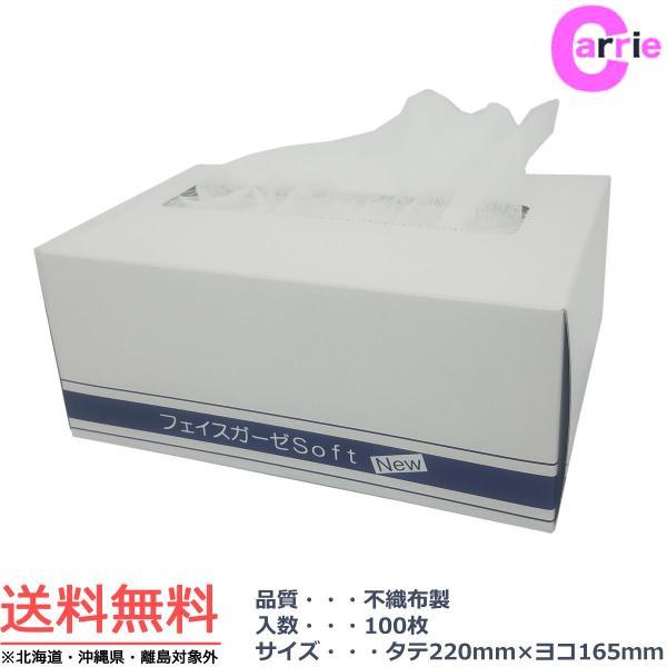 アリミノ アリミノ フェイス マスク シート ガーゼ ソフト 100枚入り 22cm x 16.5cm 不織布製 送料無料の画像