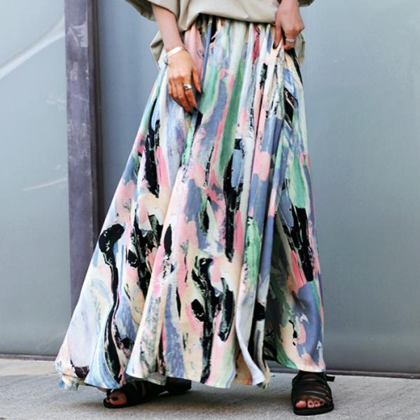 アート柄ギャザースカート スカート レディース 送料無料・6月14日10時~再再販。メール便不可