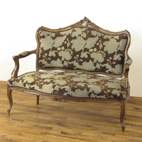 中古 張替済ソファー 60676a 華やかなデザインと落ち着いた味わい フランスアンティークらしい上品な雰囲気 1910年頃 アンティークフレックス