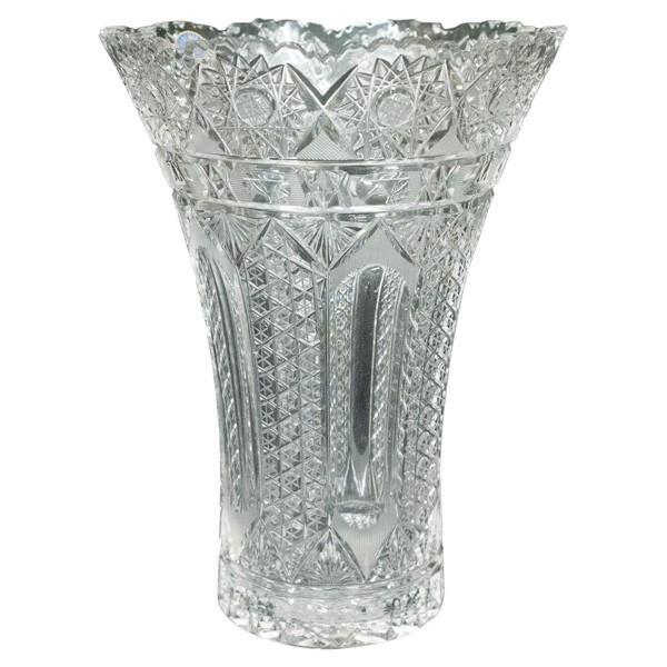 ボヘミアガラス チェコ製 クリスタル 花瓶|antiquesjikoh|02