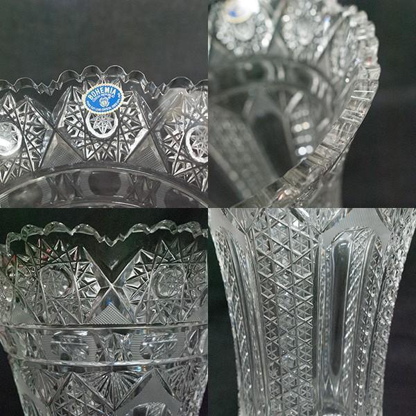 ボヘミアガラス チェコ製 クリスタル 花瓶|antiquesjikoh|05