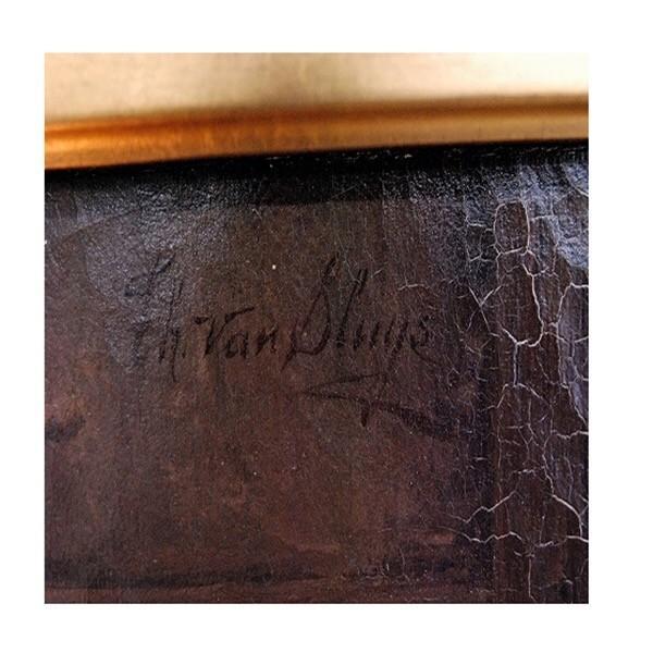Theo Van Sluys (Belgian, 1849-1931) 「厩舎の羊と鶏」|antiquesjikoh|04