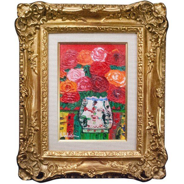 高石国夫 「赤いバックのバラ」 油彩 SM|antiquesjikoh