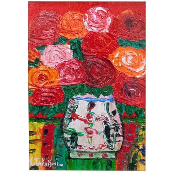 高石国夫 「赤いバックのバラ」 油彩 SM|antiquesjikoh|02