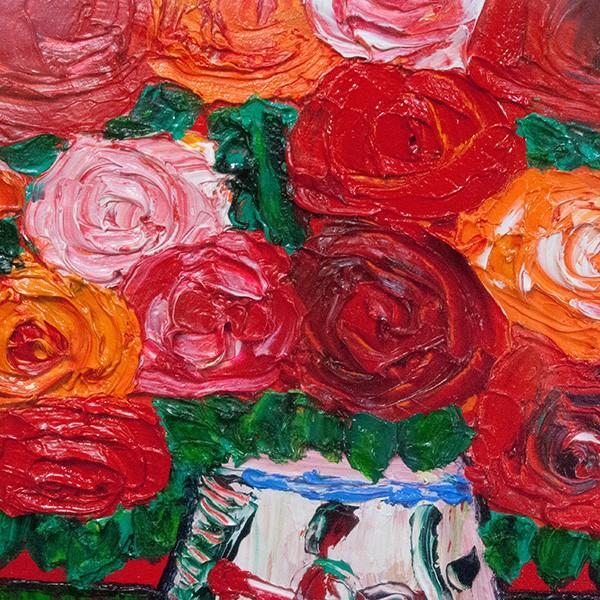 高石国夫 「赤いバックのバラ」 油彩 SM|antiquesjikoh|04