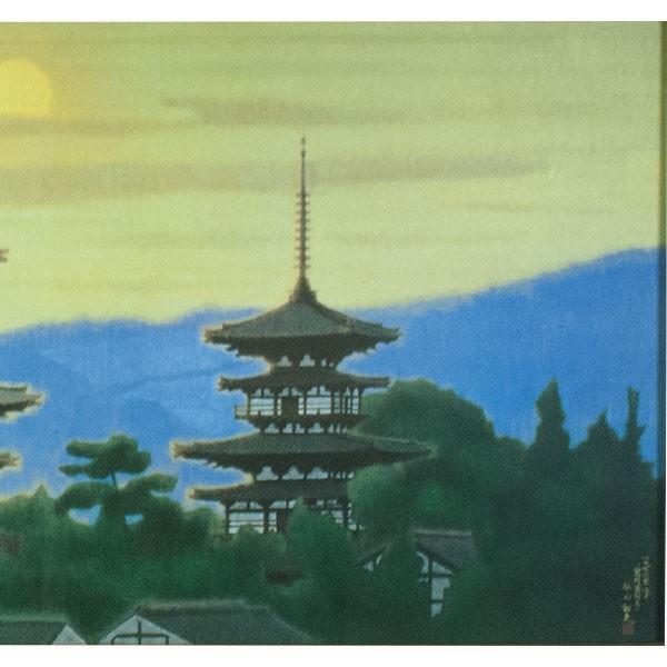 平山郁夫 「黎明薬師寺」  工芸画岩絵具方式 antiquesjikoh 05