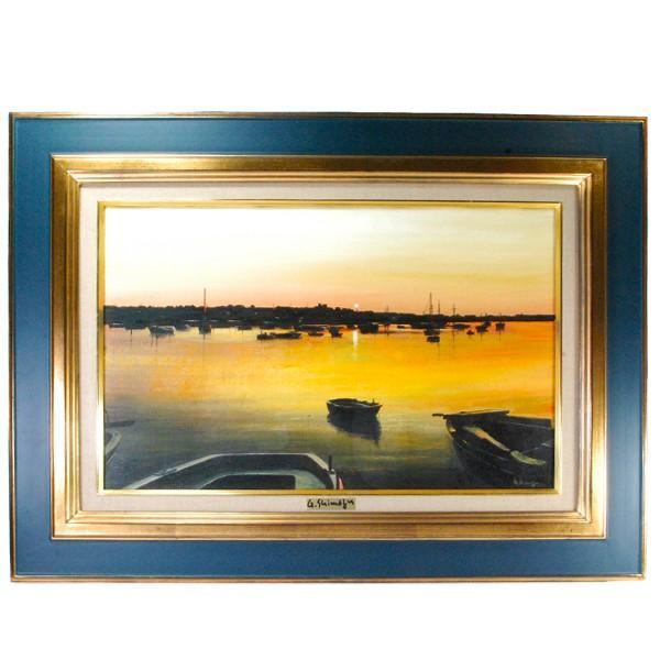 島津豪亮 「朝焼けの海」 油彩 M10号|antiquesjikoh