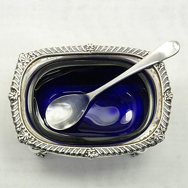 ソルトディッシュ、キャビア入れ、スプーンセット 銀製  英国|antiquesjikoh|03