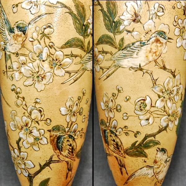R.W.Martin Brothers 花瓶 「鳥花模様」1890年|antiquesjikoh|02