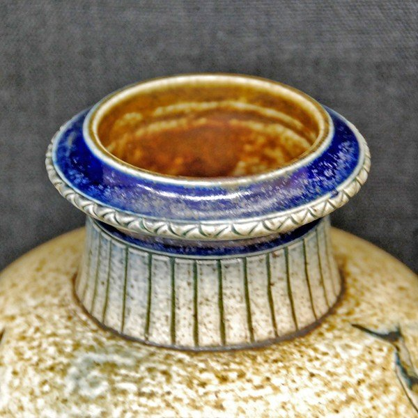 R.W.Martin Brothers 花瓶 「魚、水草模様」 1889年|antiquesjikoh|03
