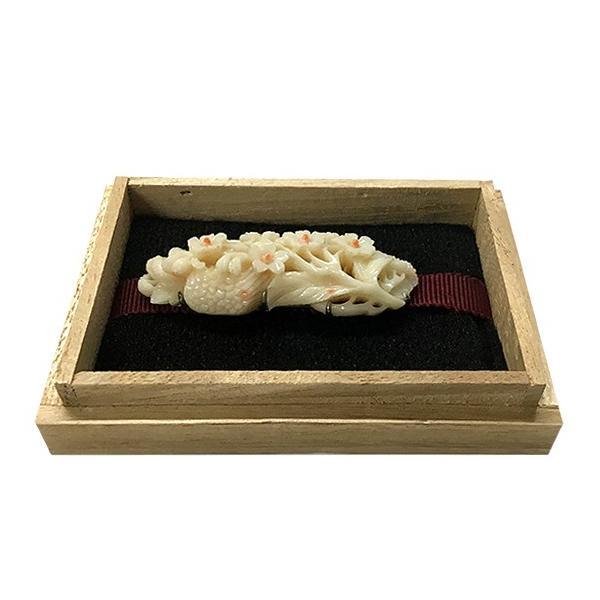 珊瑚 帯留 小花文様|antiquesjikoh|02