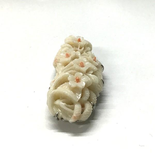 珊瑚 帯留 小花文様|antiquesjikoh|05