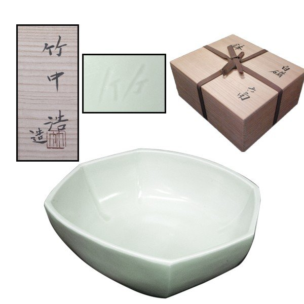 竹中浩 白磁 六角 鉢|antiquesjikoh