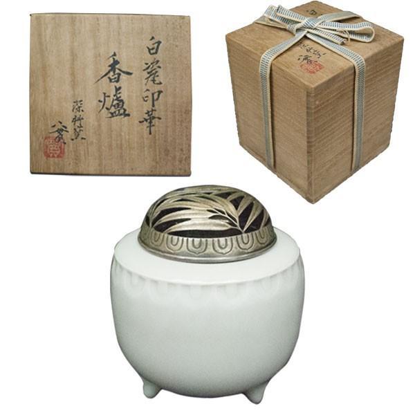 西川實 造 「白磁印華香炉」/  彫金火舎 宗巌作|antiquesjikoh
