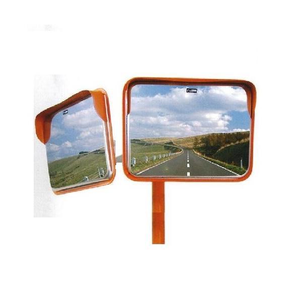 角型カーブミラーステンレス製 2面鏡 350×450mm ナック・ケイ・エス|anzen-signshop