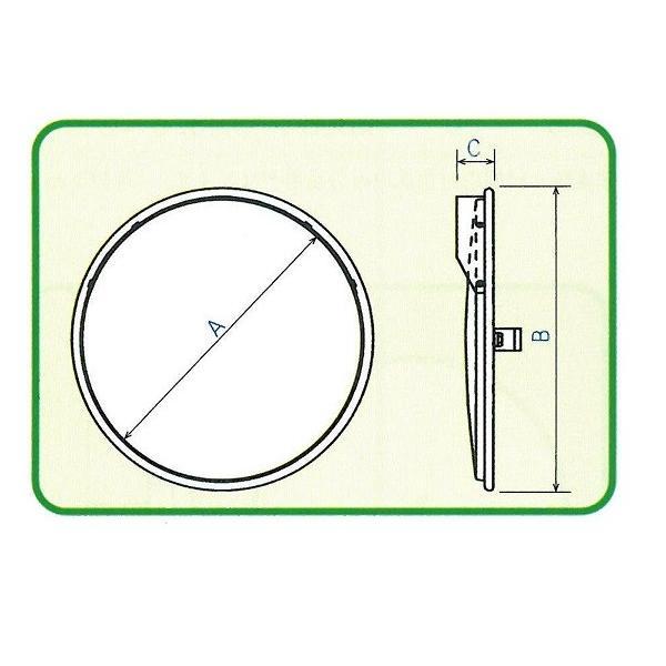 ステンレス製丸型カーブミラー2面鏡 490φ 支柱(ポール)付き 道路反射鏡 ナック・ケイ・エス|anzen-signshop|06