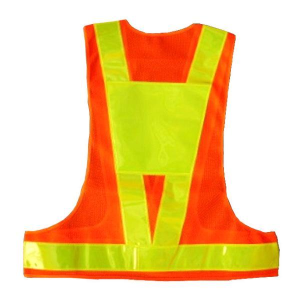 安全ベスト 背中台座反射シート付き安全チョッキ(テープ幅 60mm) オレンジメッシュ/ライムイエローテープV60-OL(T) 寒冷地対応反射テープ使用