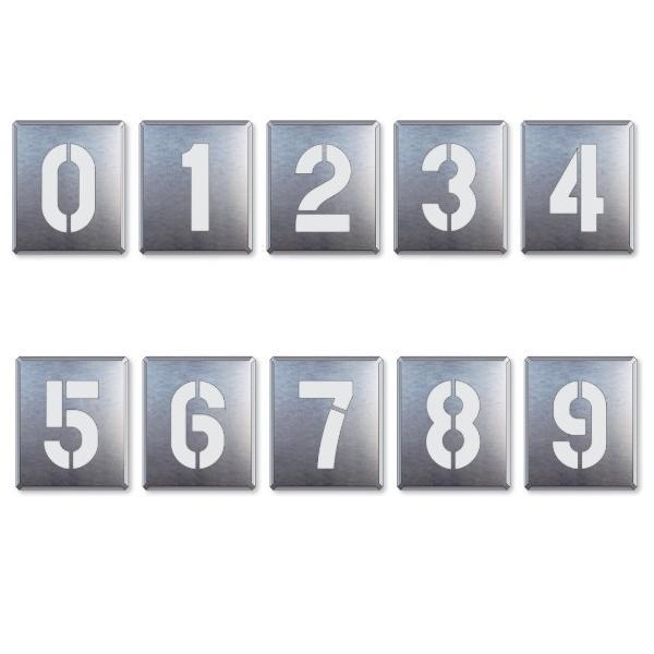 駐車場用番号表示路面吹き付け用プレート 「数字」 表示 大 10枚セット 819-35A|anzen-signshop