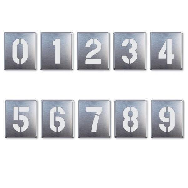 駐車場用番号表示路面吹き付け用プレート 「数字」 表示 大 10枚セット 819-35A|anzen-signshop|02