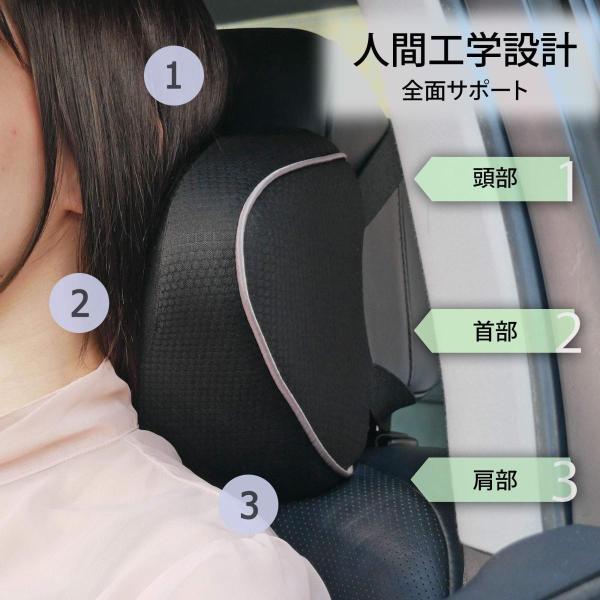 車用 ネックパッド U字型 ネックピロー 低反発 首枕 頚椎サポート クッション ヘッドレスト 爽快通気性 枕 旅行 運転 ストレス解消 ドライブ (|aobashop|07