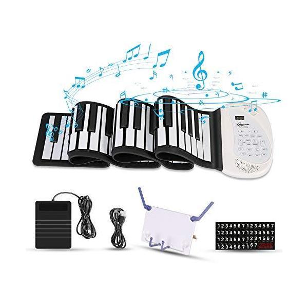 Hricane ロールピアノ 61鍵盤 128種類音色 100種類リズム 80デモ曲 スピーカー内蔵 MIDI対応 ヘッドフォン&マイク対応|aobashop