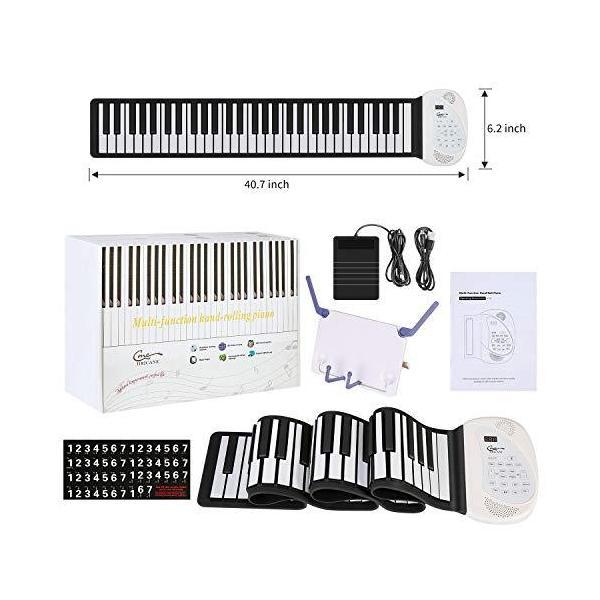 Hricane ロールピアノ 61鍵盤 128種類音色 100種類リズム 80デモ曲 スピーカー内蔵 MIDI対応 ヘッドフォン&マイク対応|aobashop|02