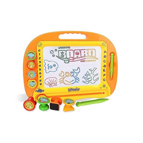 お絵かきボード大画面(38*28cm)子供おもちゃ磁石ボードマグネットスタンプ繰り返し描ける
