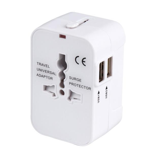 海外安全旅行充電器 コンパクトな コンセント 2USBポート変換プラグ 電源プラグ 旅行アダプター 壁の充電器 NONNBIRI(ホワイト)|aobashop