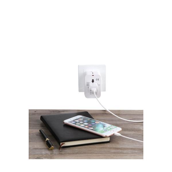 海外安全旅行充電器 コンパクトな コンセント 2USBポート変換プラグ 電源プラグ 旅行アダプター 壁の充電器 NONNBIRI(ホワイト)|aobashop|04